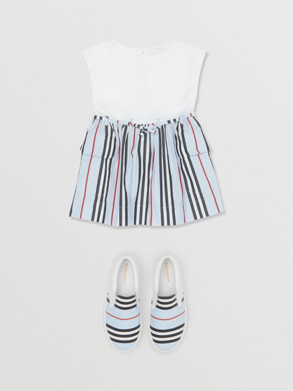 Icon Stripe Cotton Dress in White/pale Blue - Children | Burberry United Kingdom - cell image 2