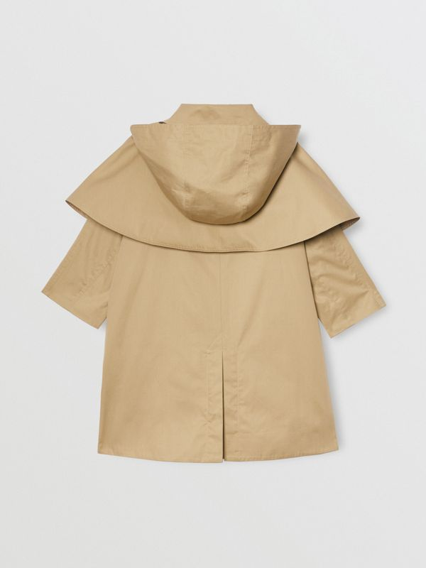 Detachable Hood Showerproof Cotton Swing Coat in Honey | Burberry Canada - cell image 3