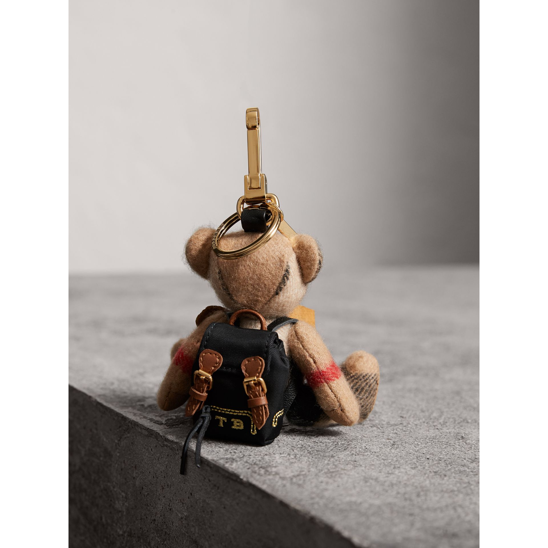 Thomas Bear Charm with Rucksack in Camel | Burberry United Kingdom - gallery image 4