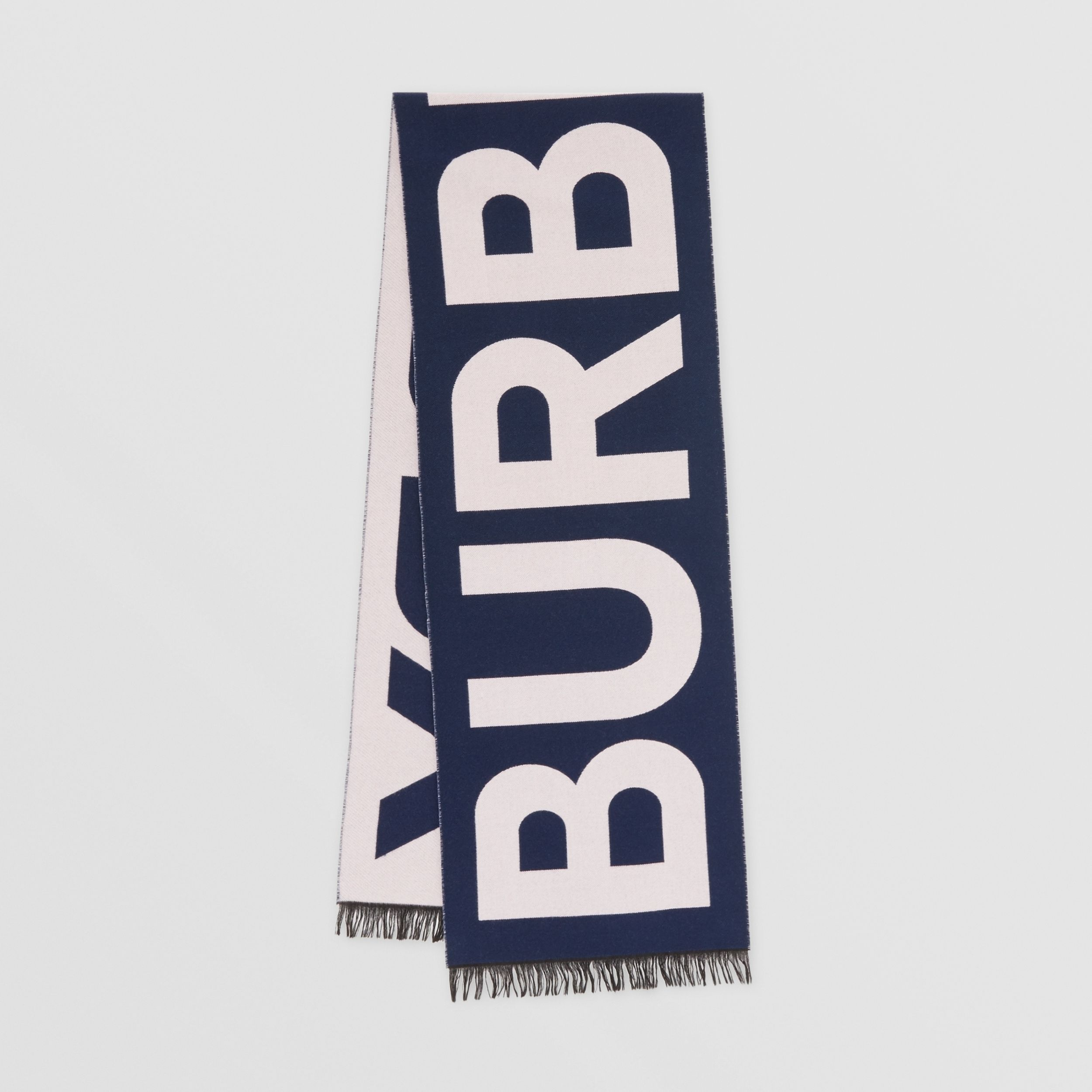 Logo Wool Jacquard Scarf in Navy | Burberry Singapore - 1