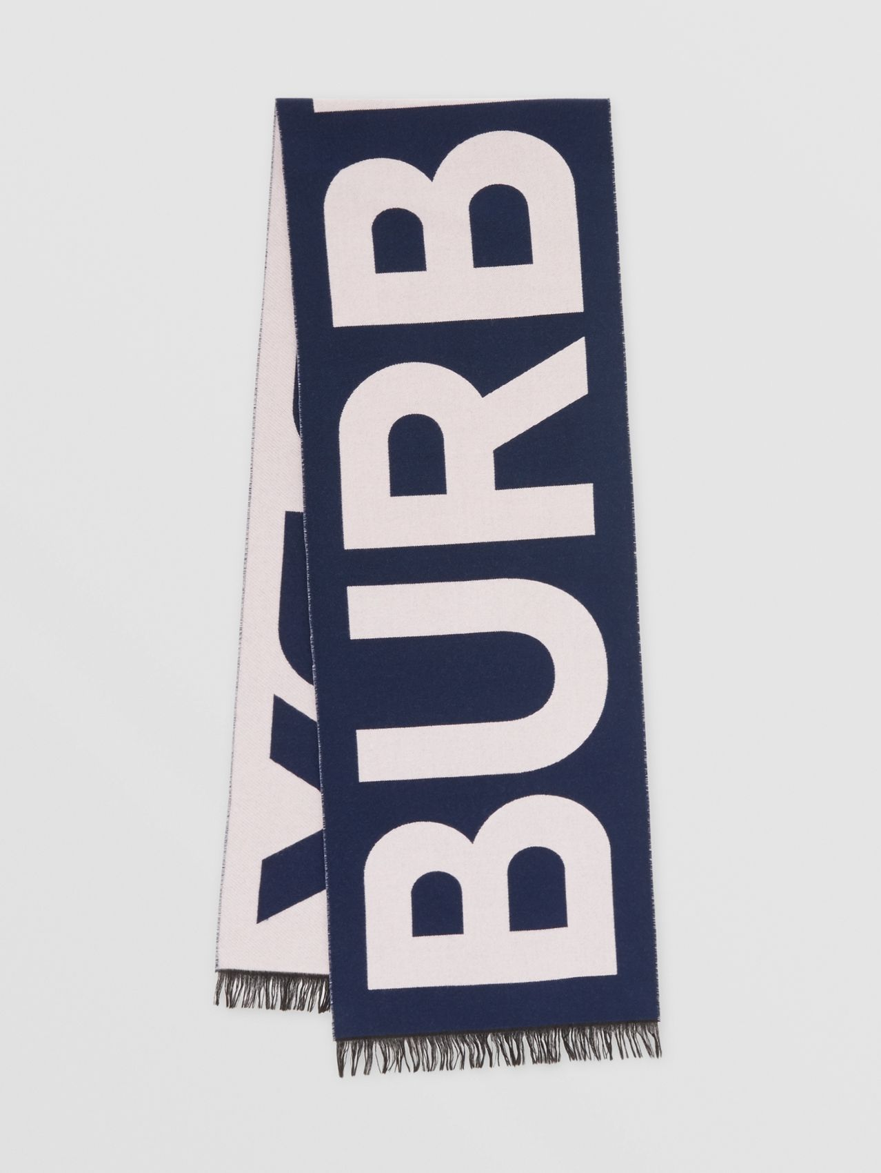 Logo Wool Jacquard Scarf in Navy