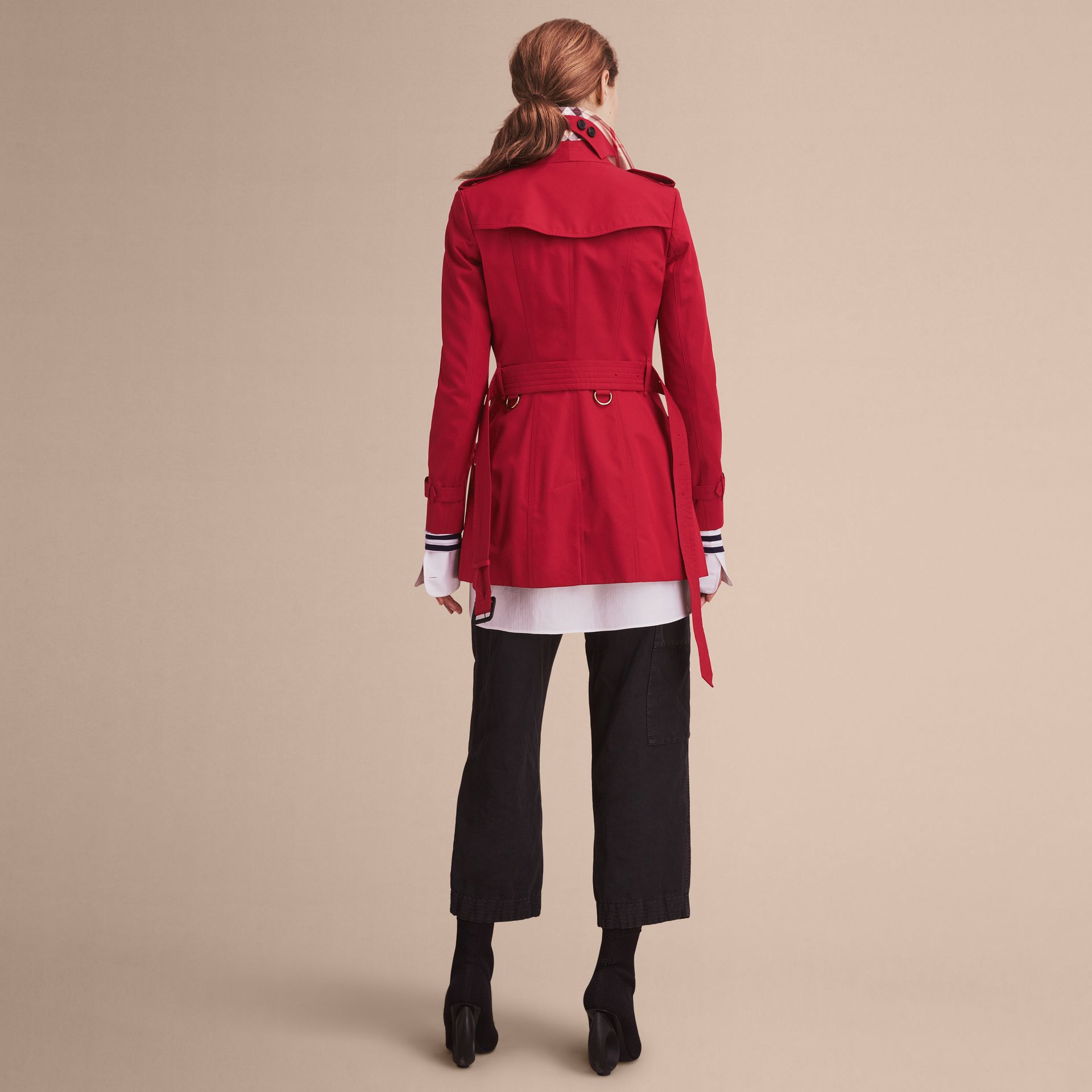 The Chelsea – Short Heritage Trench Coat in Parade Red - gallery image 3