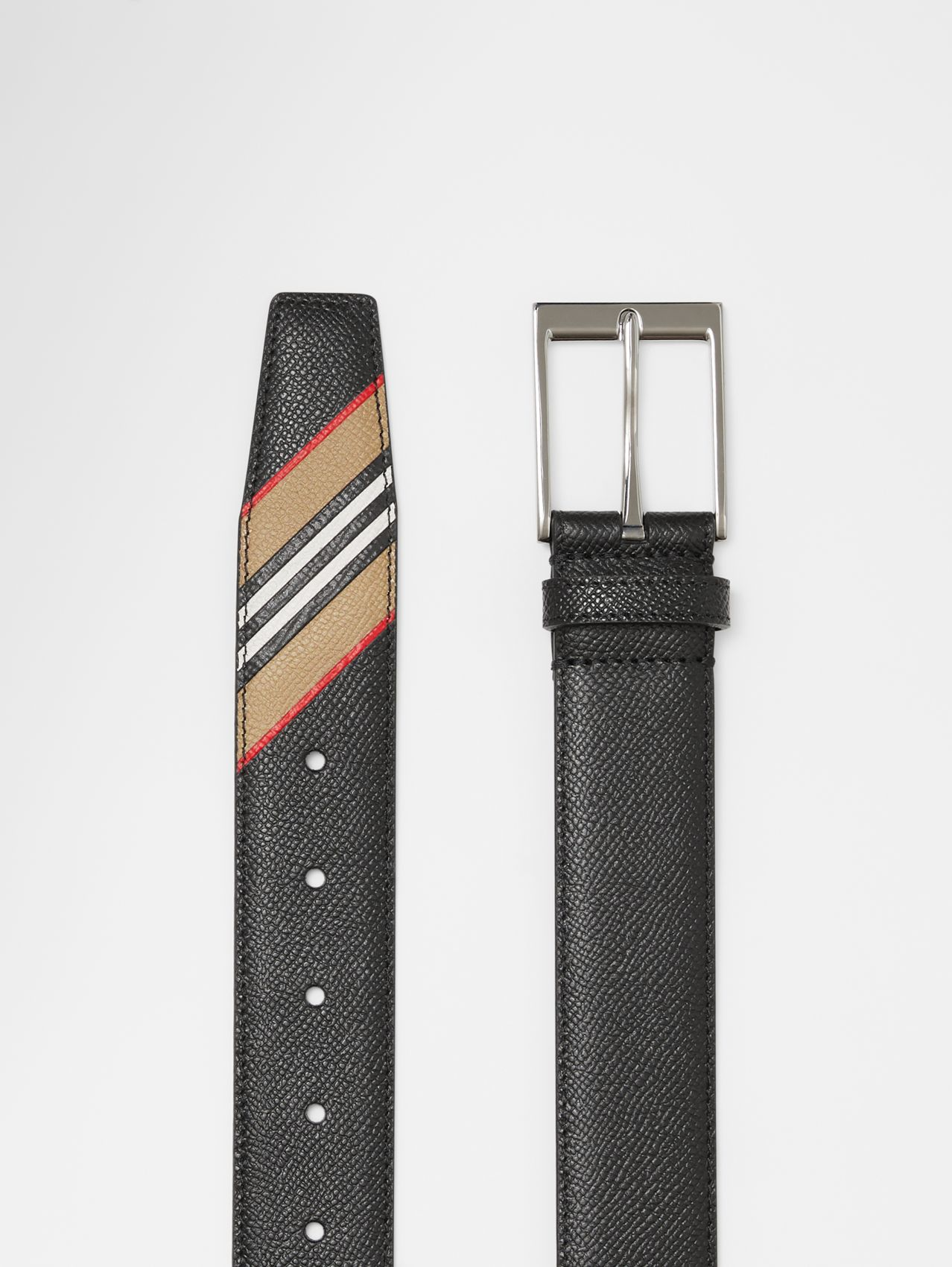 Icon Stripe Print Grainy Leather Belt in Black
