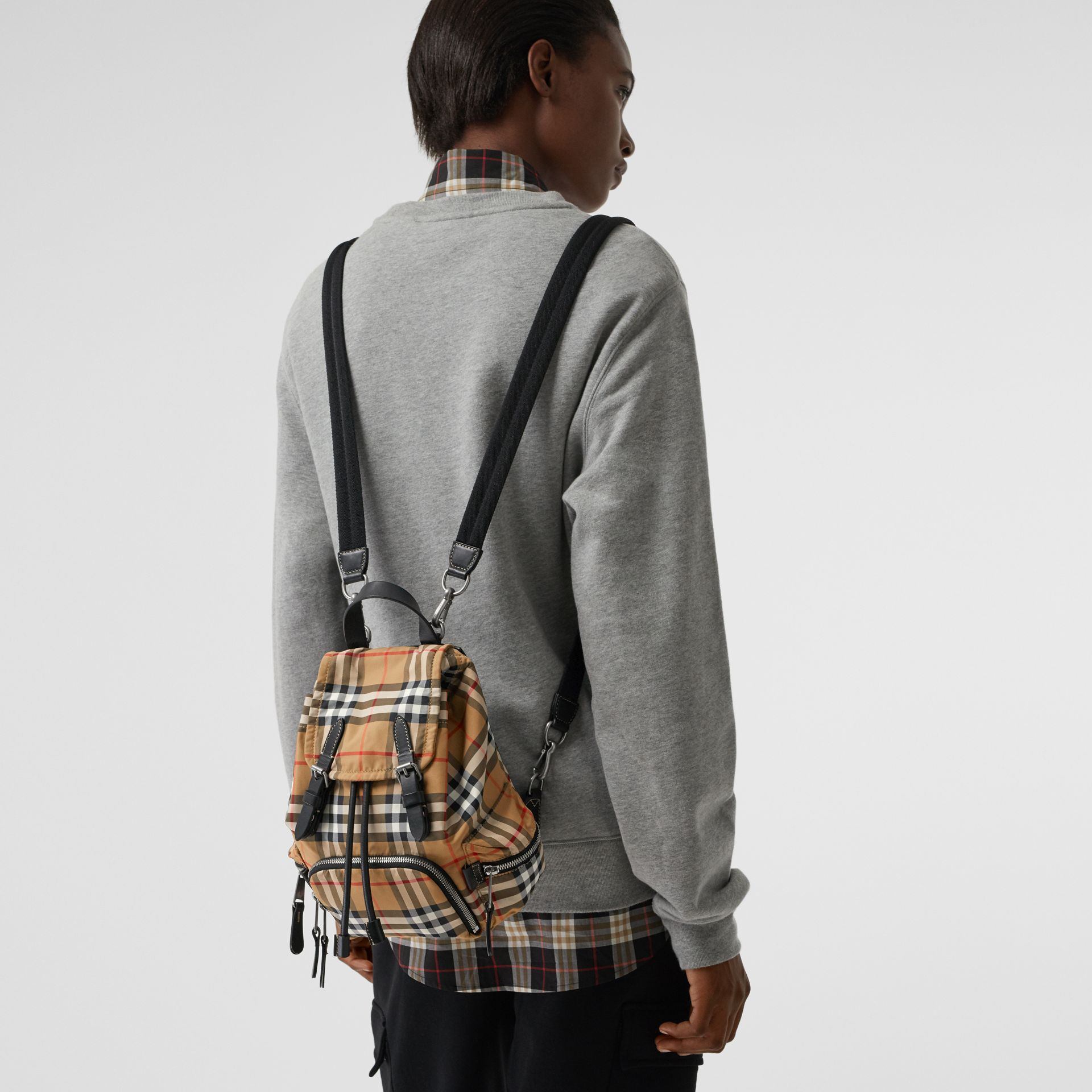 The Small Crossbody Rucksack in Vintage Check in Antique Yellow - Women | Burberry Australia - gallery image 4