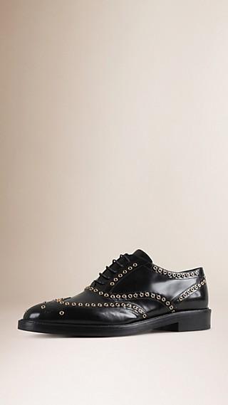 Chaussures Richelieu en cuir orné d'œillets avec bout golf (exclusivité en ligne)