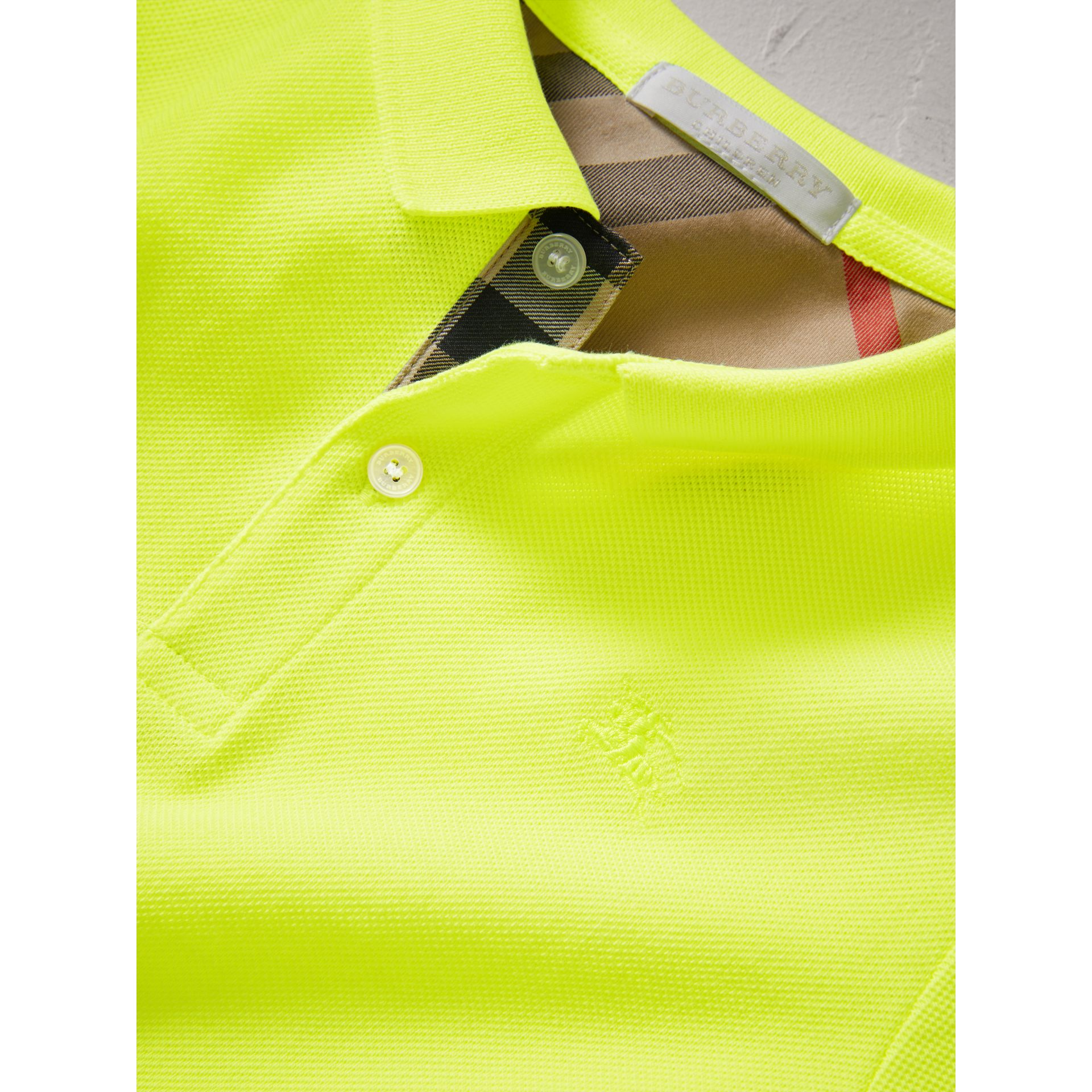 Check Placket Polo Shirt in Neon Yellow | Burberry - gallery image 1