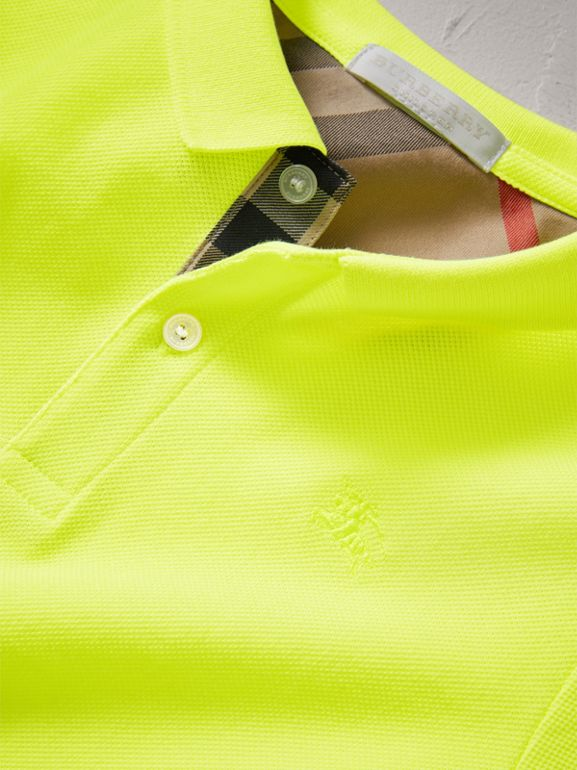 Check Placket Polo Shirt in Neon Yellow | Burberry - cell image 1