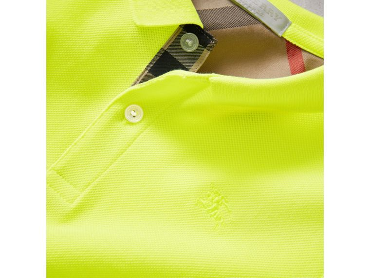 Check Placket Polo Shirt in Neon Yellow - Boy | Burberry - cell image 1