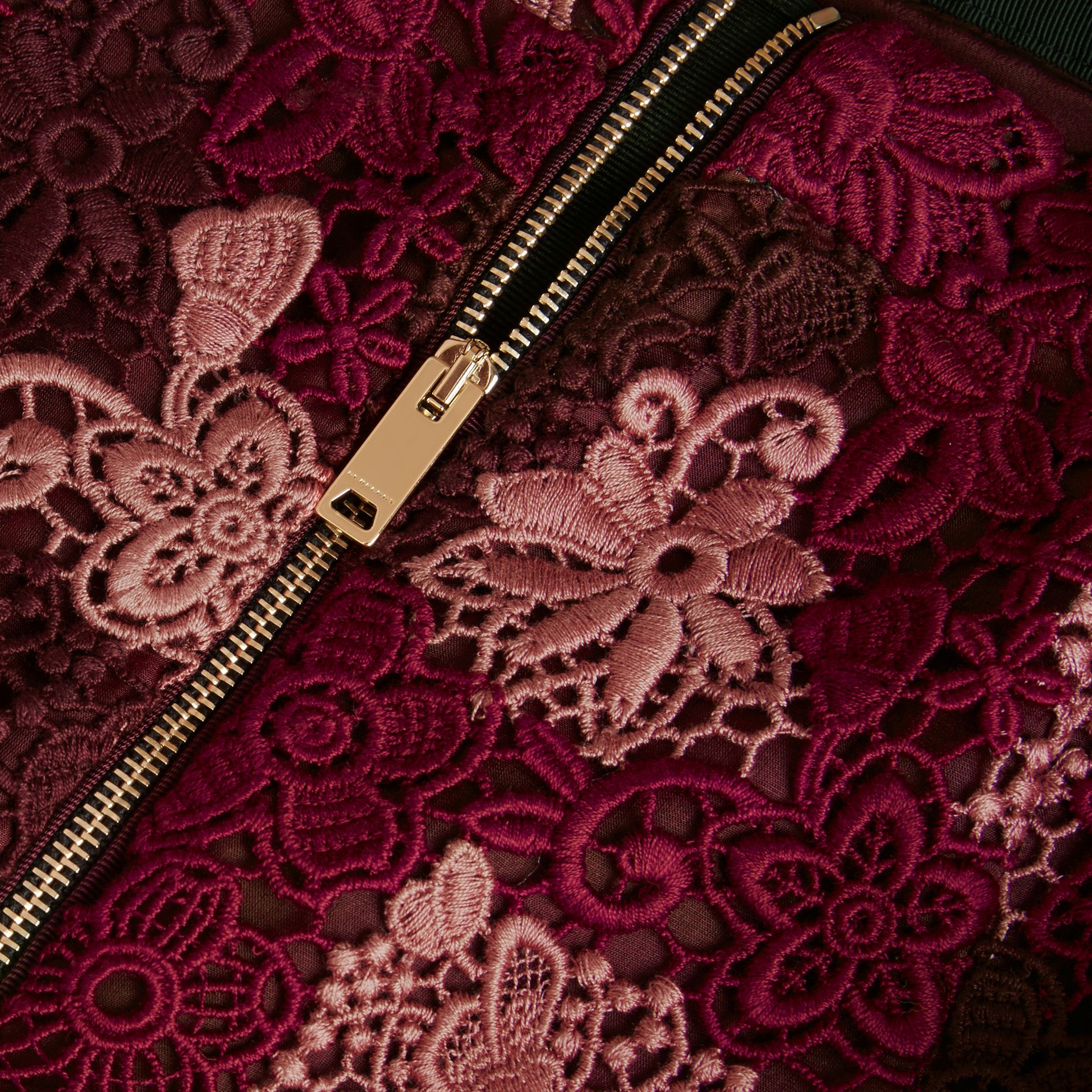 Deep claret Floral Italian Macramé Lace Skirt - gallery image 2