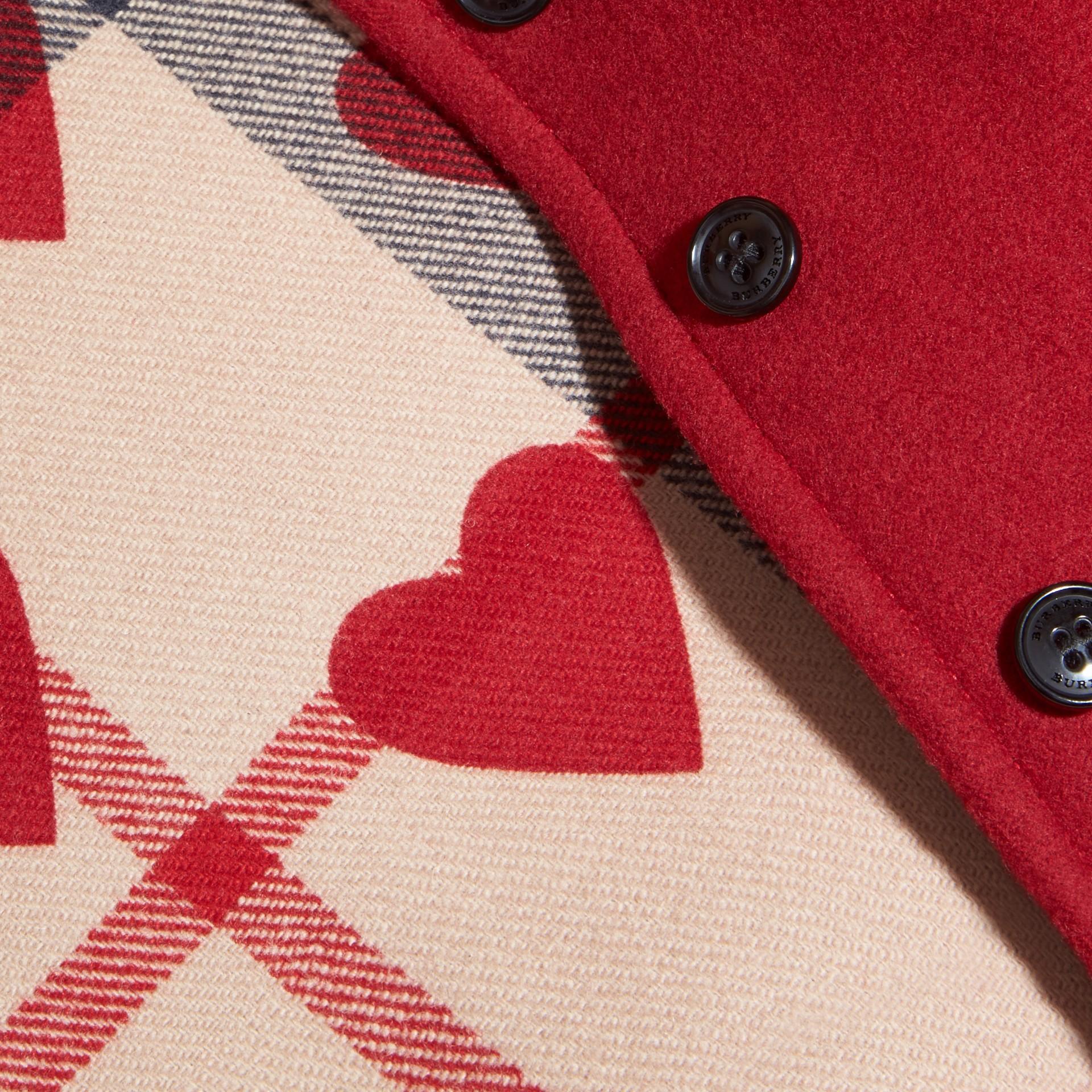 Rosso windsor Mantella svasata in lana con cappuccio Rosso Windsor - immagine della galleria 2