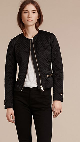 Panel Detail Diamond Quilted Collarless  Jacket