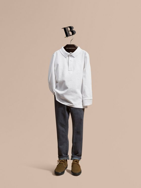 Long-sleeve Cotton Jersey Polo Shirt in White - Boy | Burberry