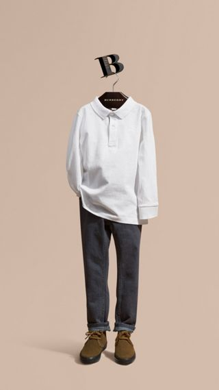 Long-sleeved Cotton Polo Shirt