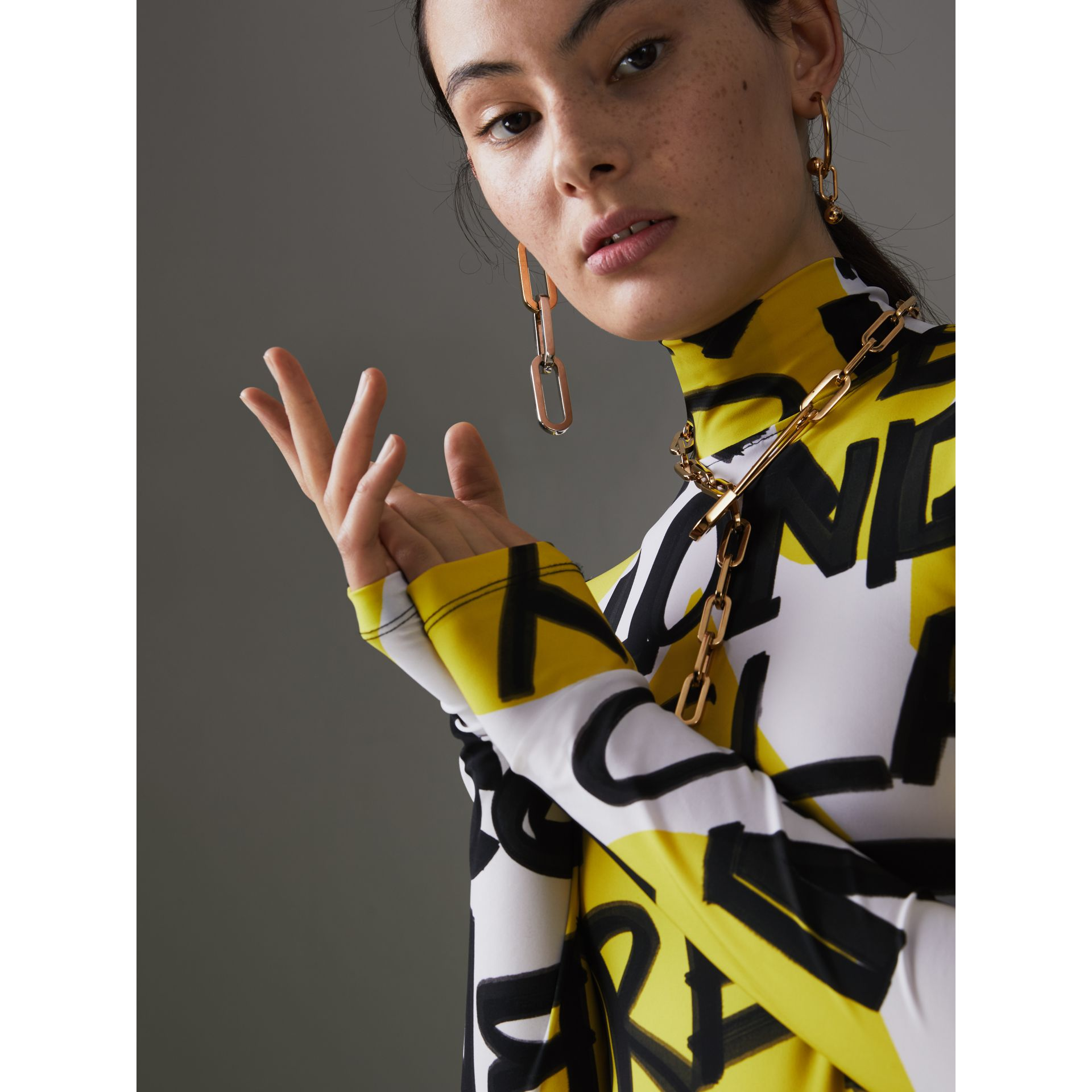 Graffiti Print Stretch Jersey Bodysuit in Bright Yellow - Women | Burberry United Kingdom - gallery image 1