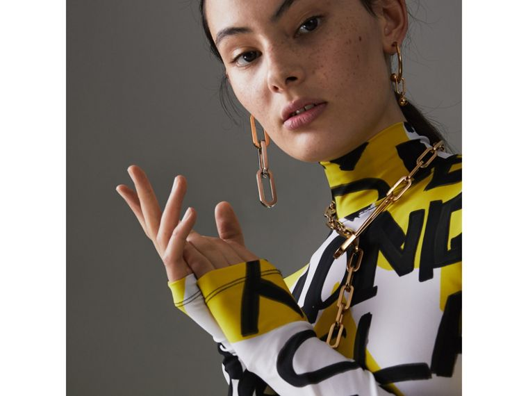 Graffiti Print Stretch Jersey Bodysuit in Bright Yellow - Women | Burberry Australia - cell image 1
