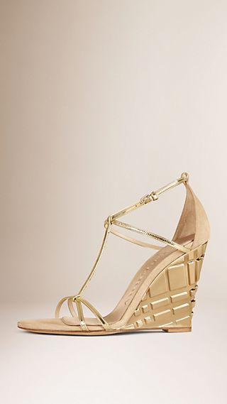 T-bar Metallic Leather Wedge Sandals