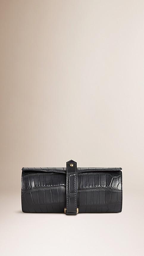 Black Alligator Leather Watch Travel Case - Image 1
