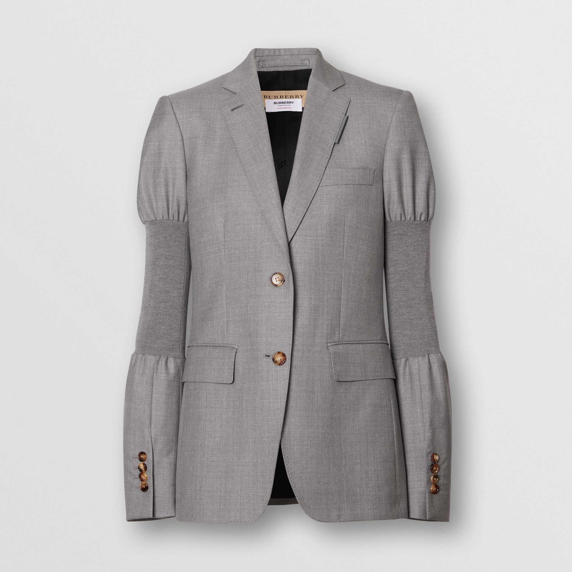 Panelled-sleeve Wool Tailored Jacket in Flint - Women | Burberry - gallery image 3