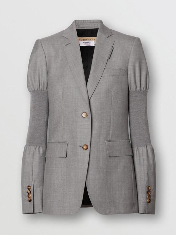 Panelled-sleeve Wool Tailored Jacket in Flint