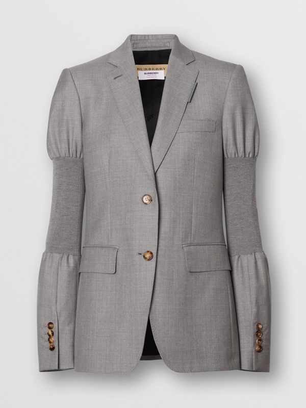 Panelled-sleeve Wool Tailored Jacket in Flint - Women | Burberry - cell image 3