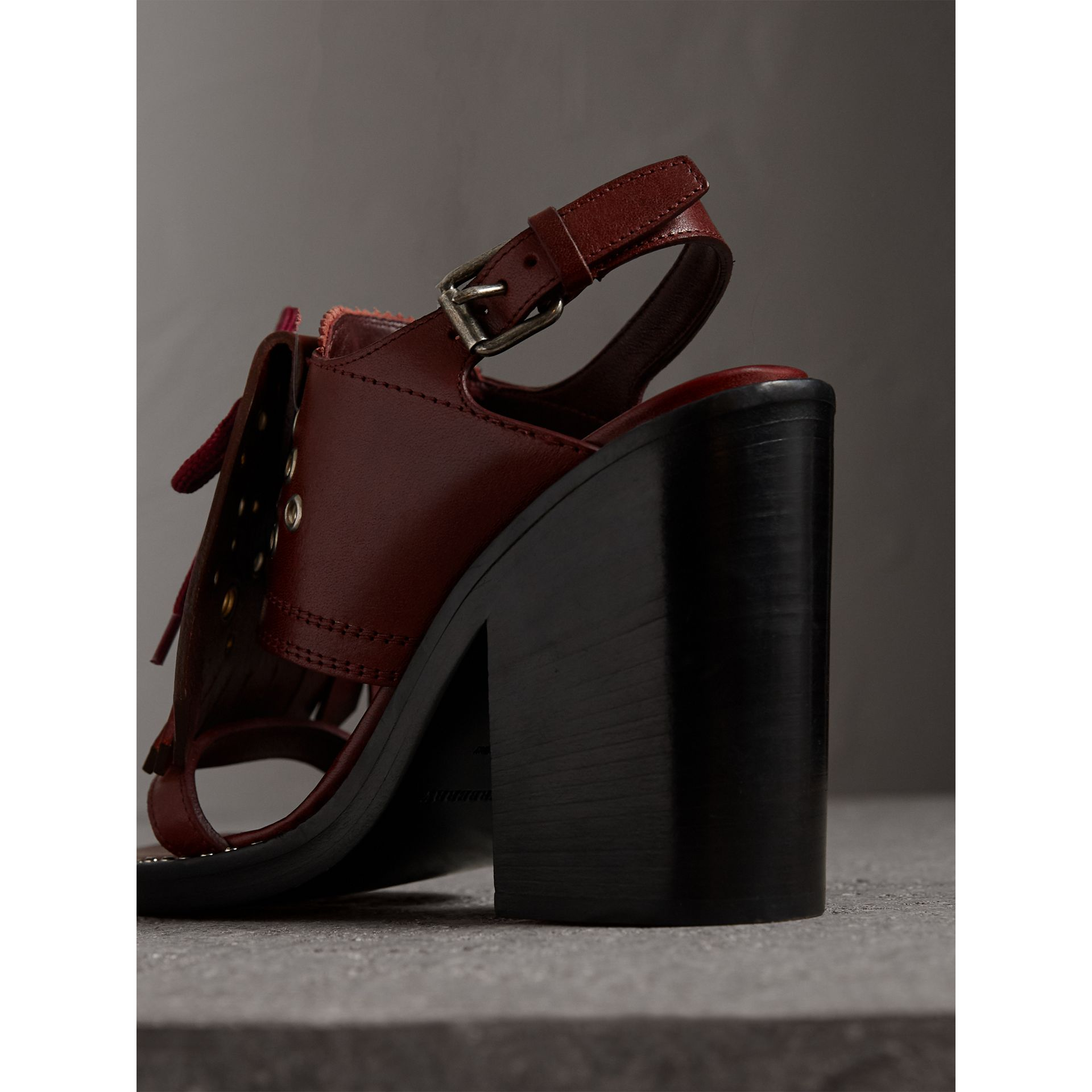 Kiltie Fringe Leather Heeled Sandals in Cerise Purple - Women | Burberry Australia - gallery image 3
