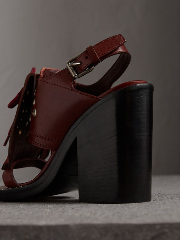 Kiltie Fringe Leather Heeled Sandals in Cerise Purple - Women | Burberry - cell image 3