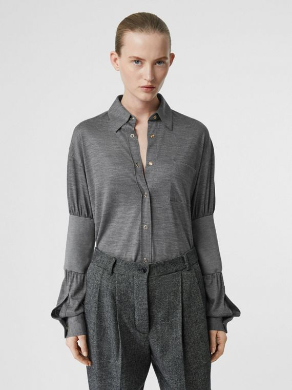 Panelled-sleeve Wool Shirt in Flint