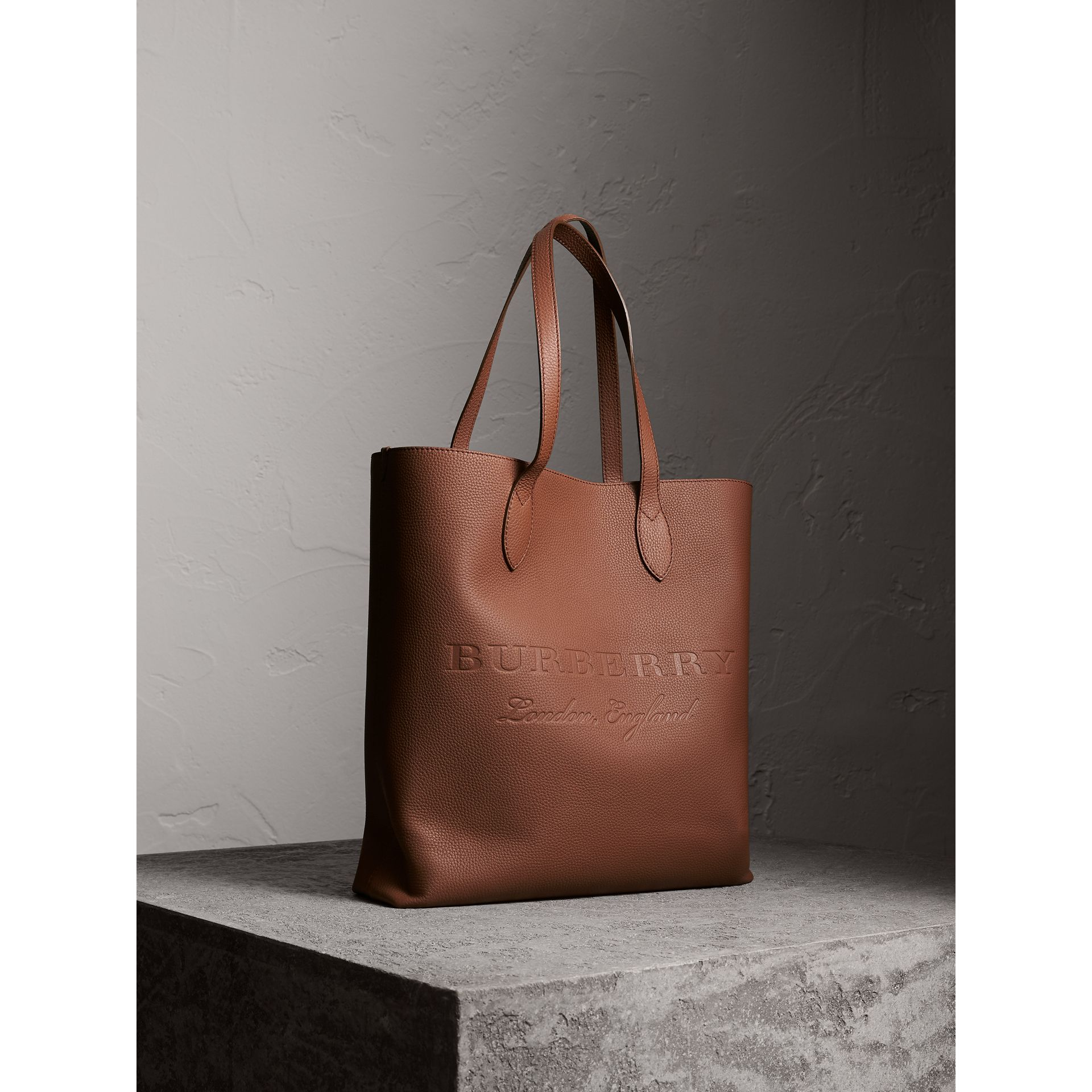 Medium Embossed Leather Tote in Chestnut Brown | Burberry - gallery image 7