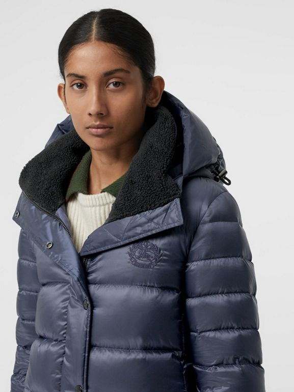 Down-filled Hooded Puffer Coat in Navy - Women | Burberry - cell image 1