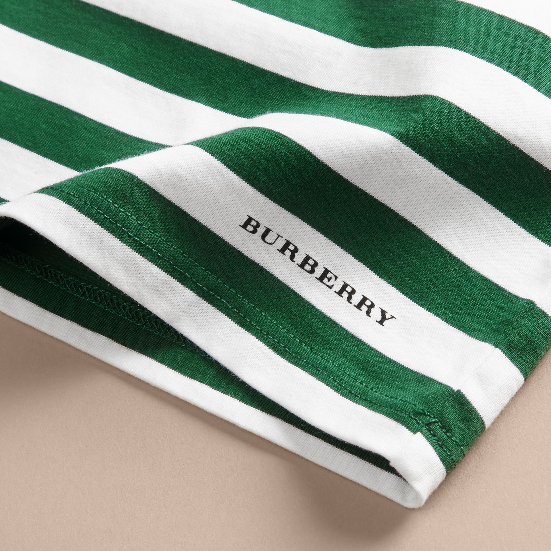 Racing green Striped Cotton T-shirt with Appliqués - gallery image 2