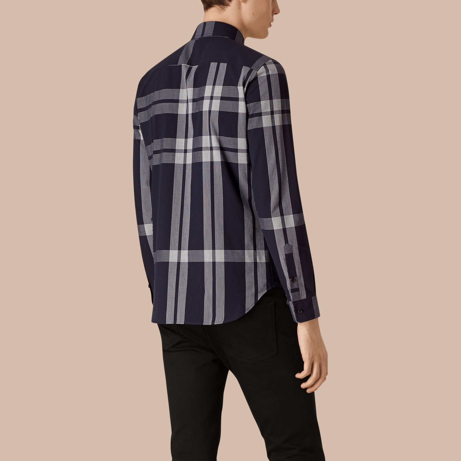 Navy Textured Check Cotton Shirt Navy - gallery image 2