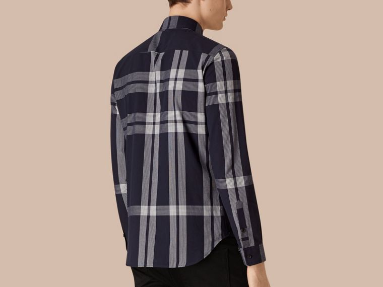 Navy Textured Check Cotton Shirt Navy - cell image 1