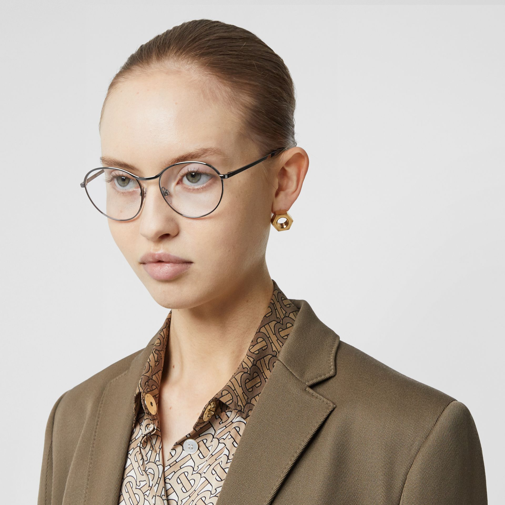 Round Optical Frames in Gunmetal Grey - Women | Burberry - gallery image 2