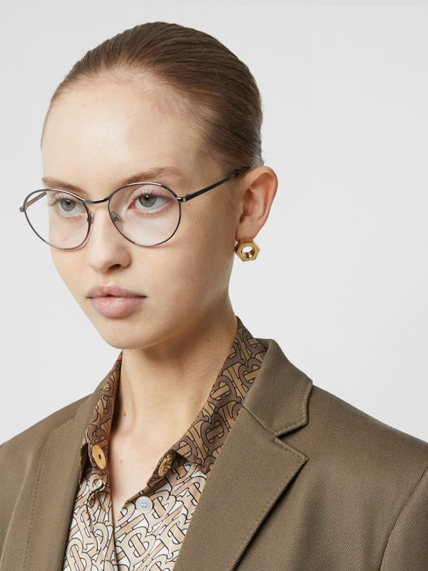 Round Optical Frames in Gunmetal Grey - Women | Burberry - cell image 2