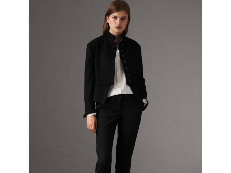 Tonal Check Silk Shirt in White - Women | Burberry Australia - cell image 4