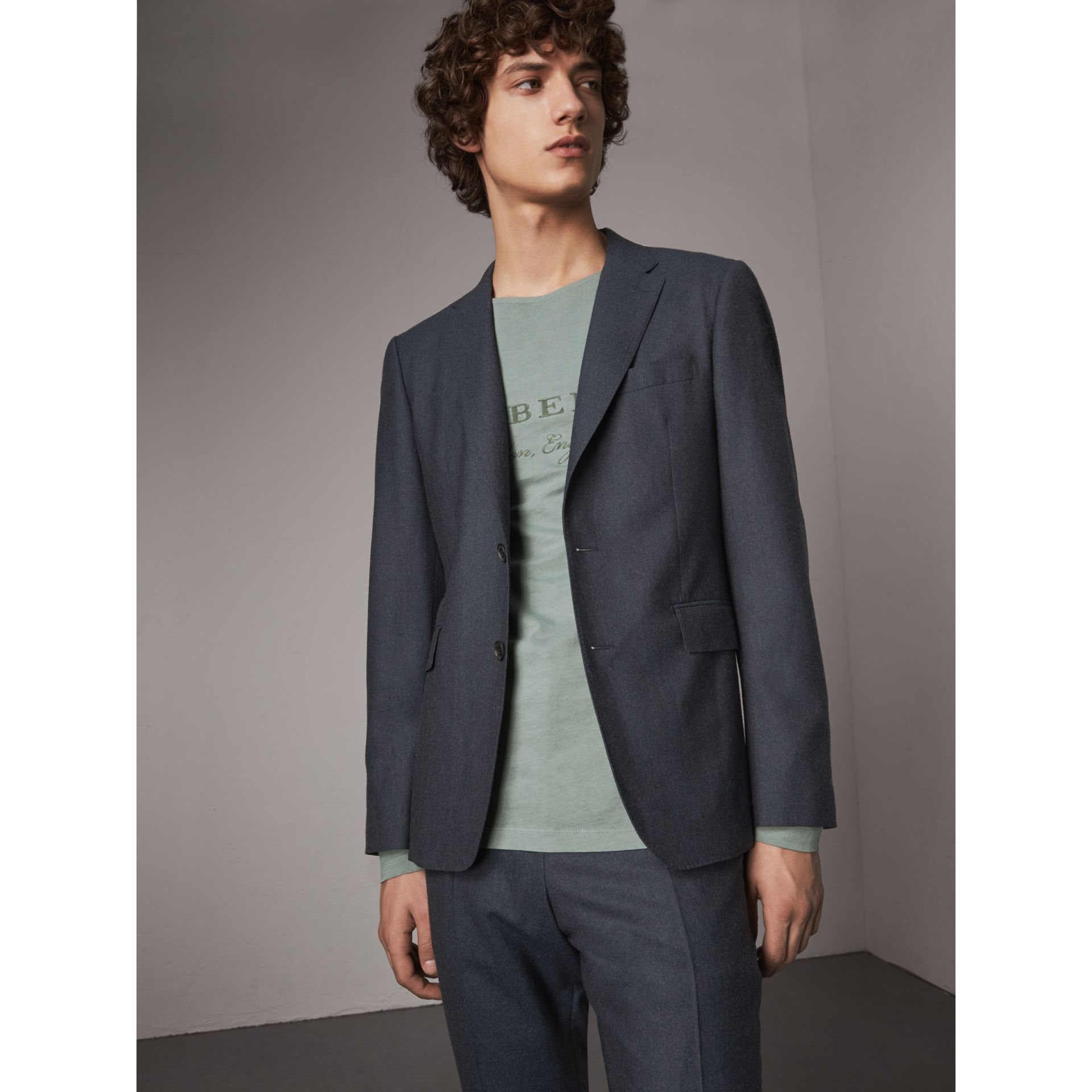 Soho Fit Wool Flannel Suit in Petrol Blue Melange - Men | Burberry Australia - gallery image 7