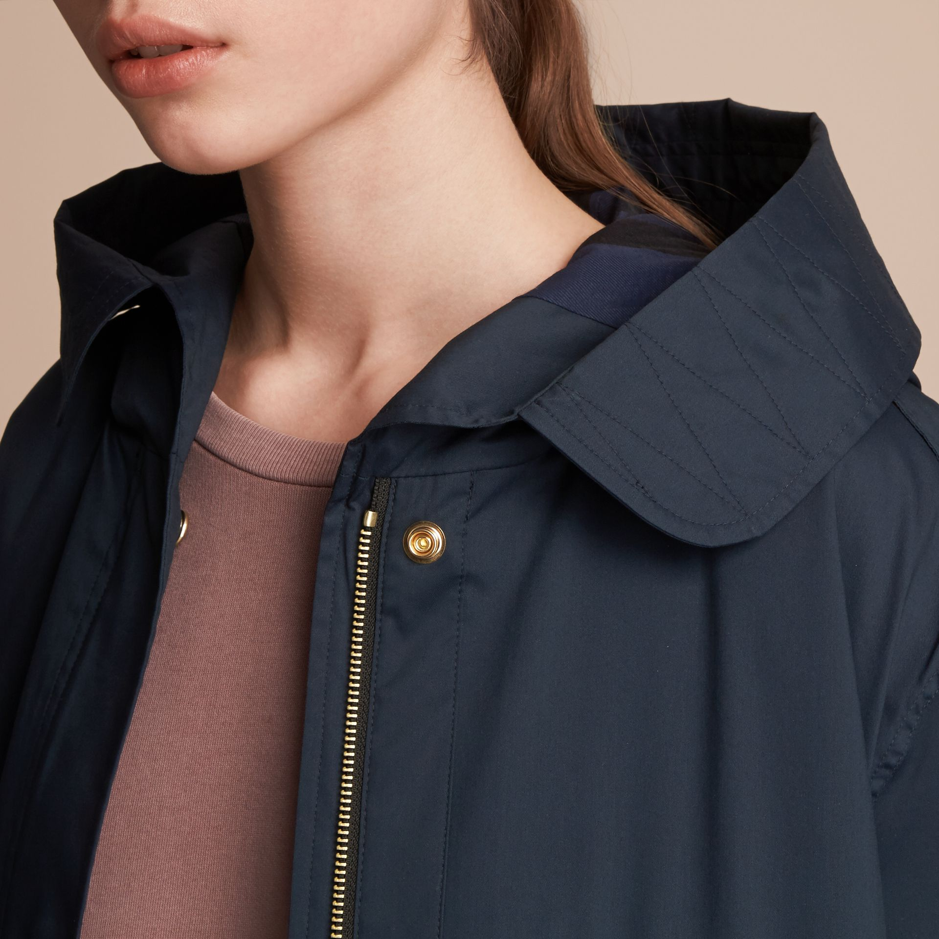 Hooded Water-resistant Parka in Navy - Women | Burberry - gallery image 5