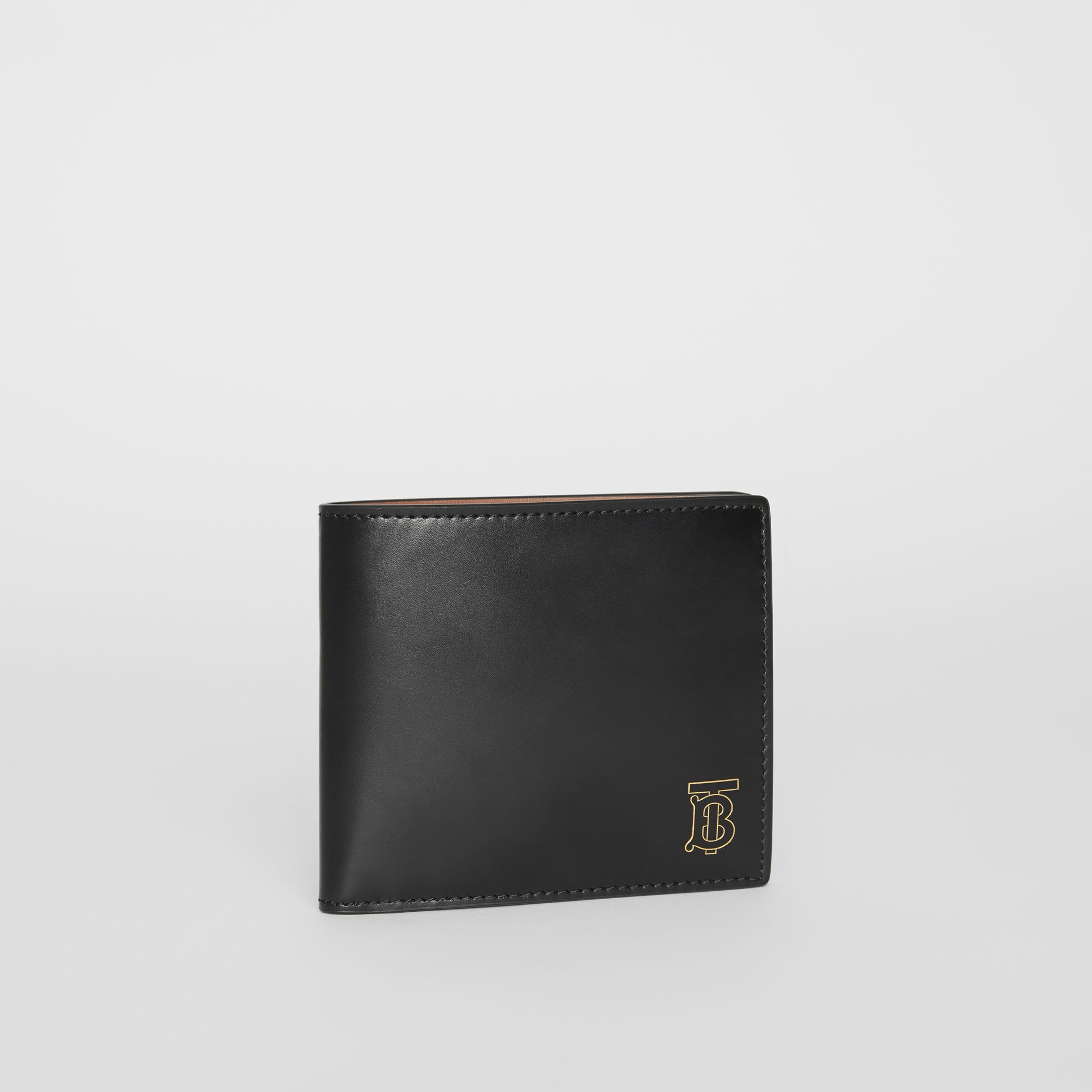 Monogram Motif Leather International Bifold Wallet in Black - Men | Burberry United Kingdom - gallery image 3