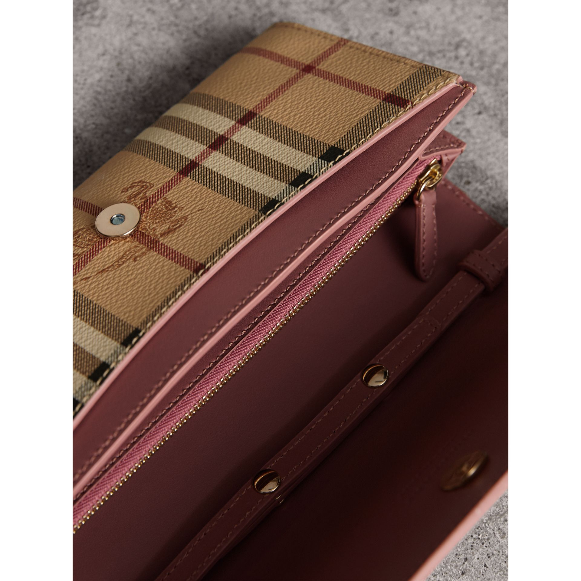 Leather Trim Haymarket Check Wallet with Chain in Light Elderberry - Women | Burberry - gallery image 6