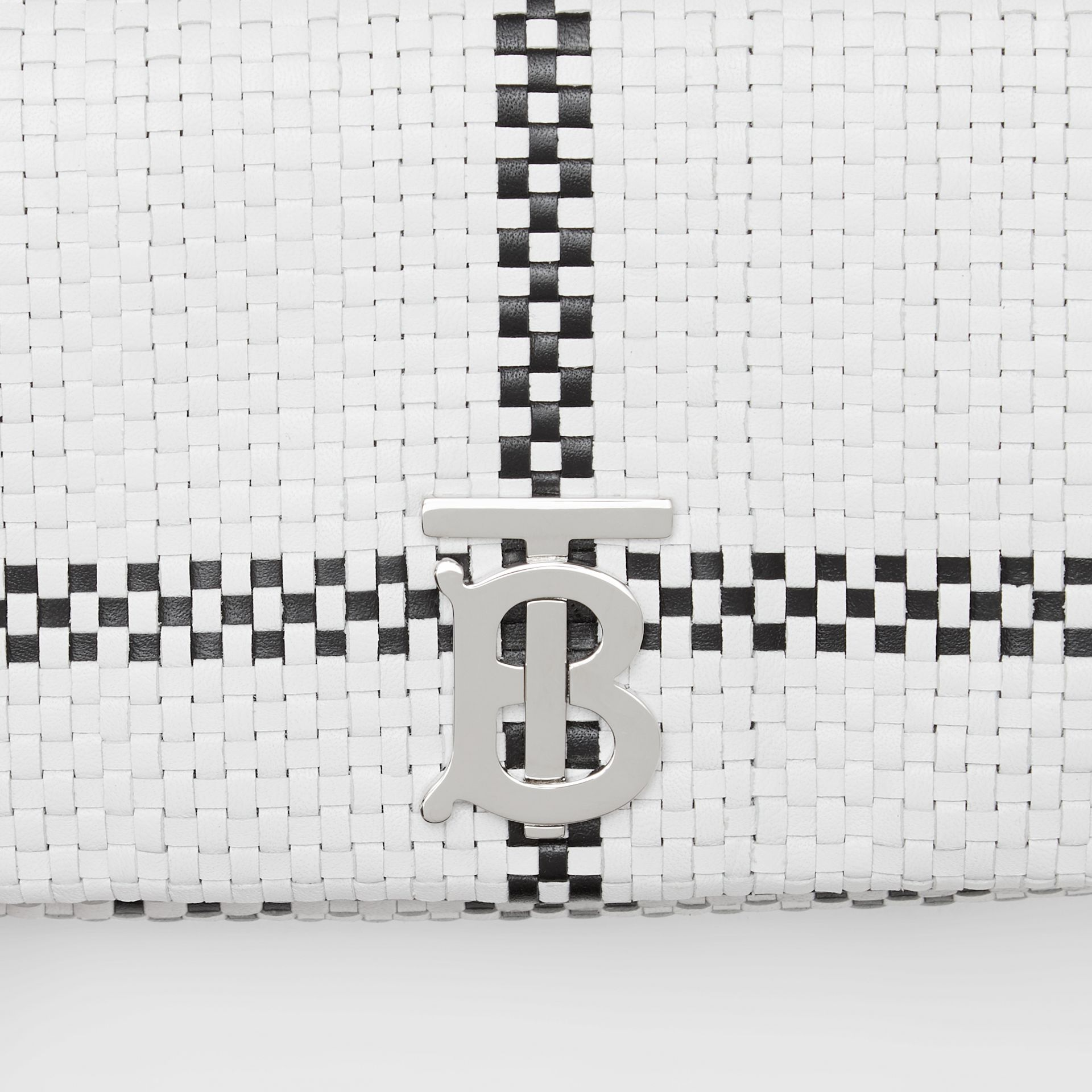 Mini Latticed Leather Lola Bag in Black/white - Women | Burberry - gallery image 1