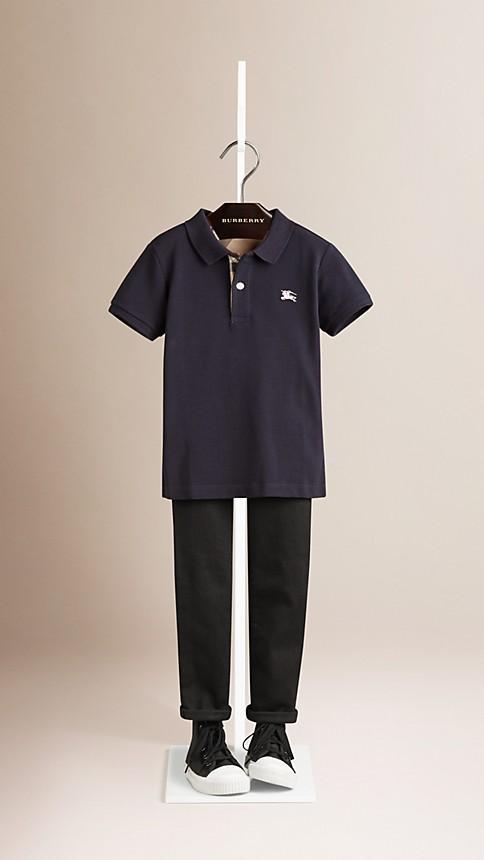 True navy Check Placket Polo Shirt - Image 1