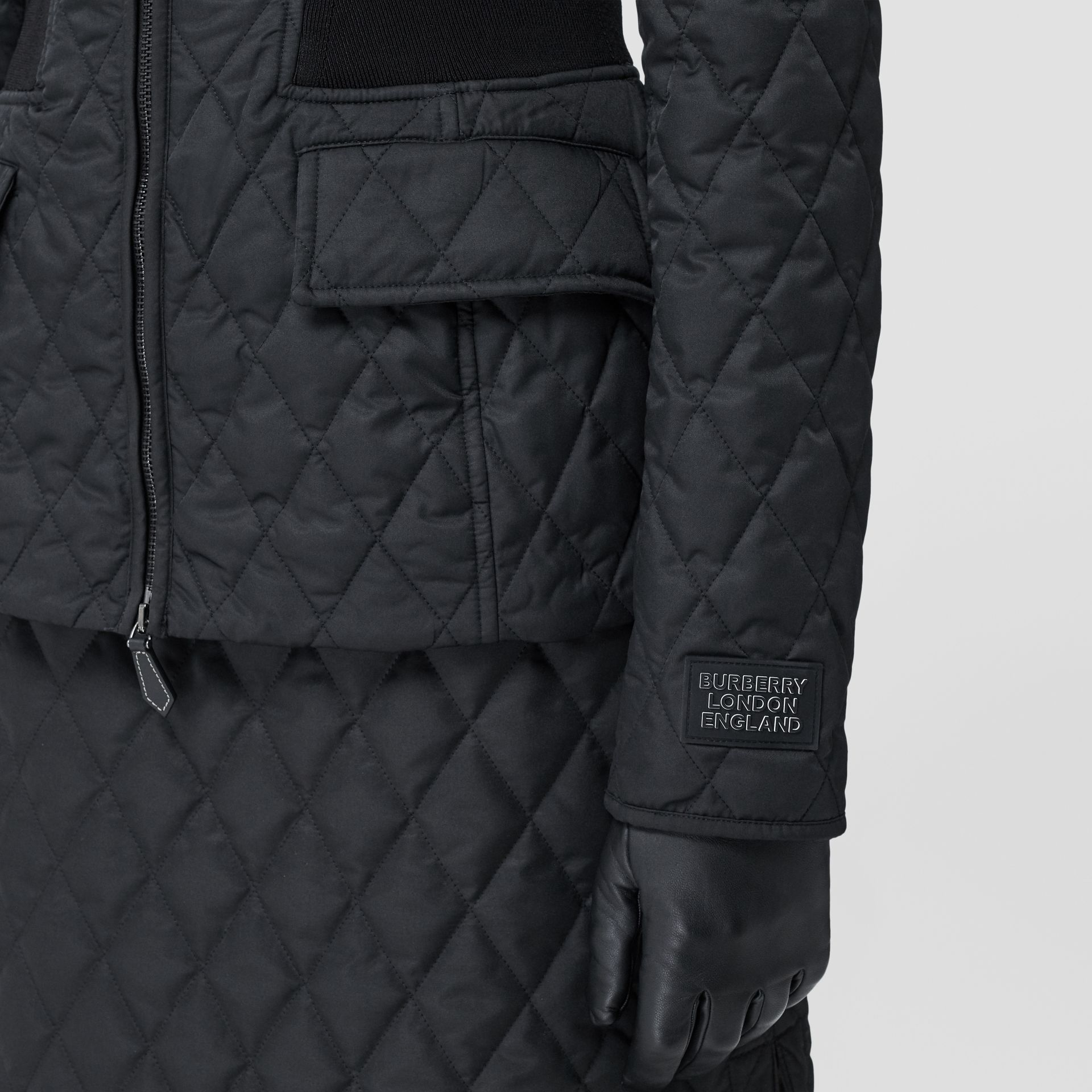 Rib Knit Panel Diamond Quilted Barn Jacket in Black - Women | Burberry United Kingdom - gallery image 4