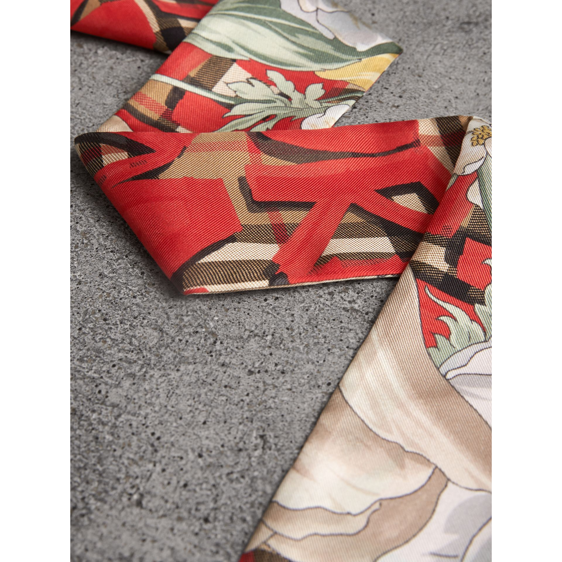 Graffiti Archive Scarf Print Silk Skinny Scarf in Bright Red - Women | Burberry United Kingdom - gallery image 1