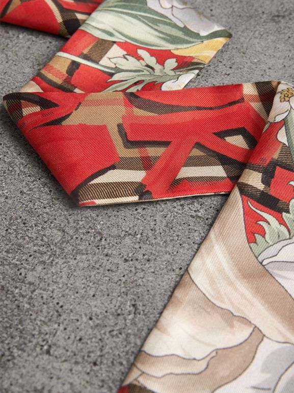 Graffiti Archive Scarf Print Silk Skinny Scarf in Bright Red - Women | Burberry United Kingdom - cell image 1