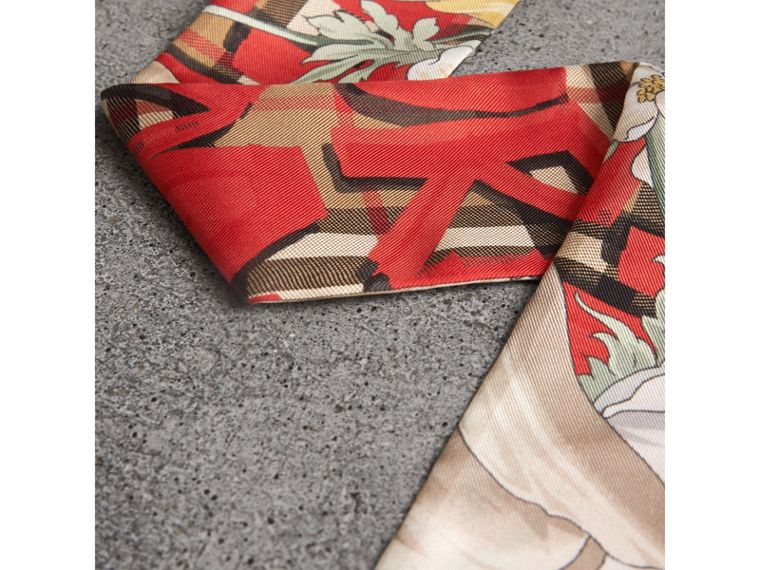 Graffiti Archive Scarf Print Silk Slim Scarf in Bright Red - Women | Burberry United States - cell image 1