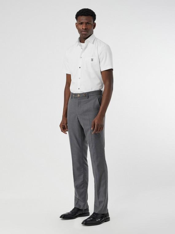 Chemise à manches courtes en coton extensible Monogram (Blanc)