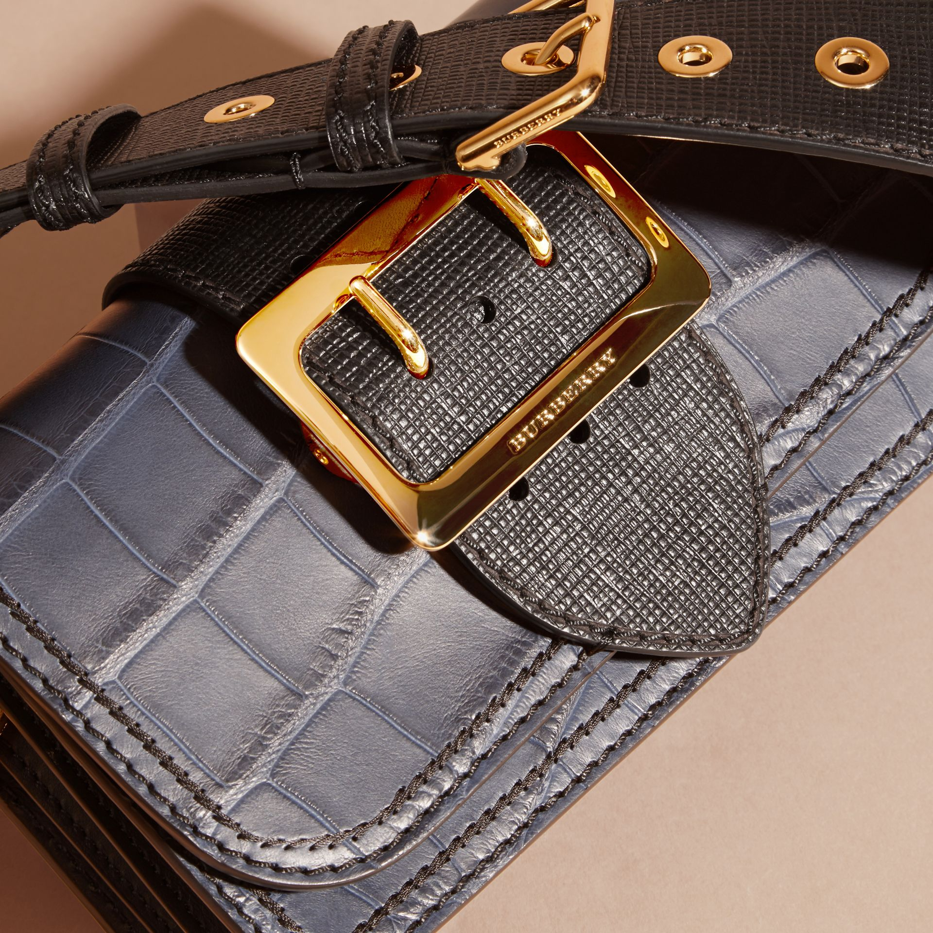 The Small Buckle Bag in Alligator and Leather in Navy / Black - Women | Burberry - gallery image 2