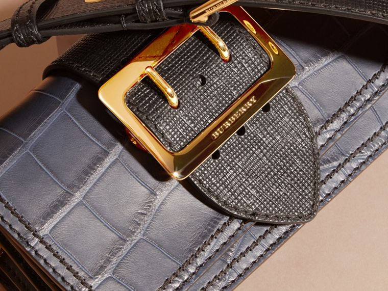 The Small Buckle Bag in Alligator and Leather in Navy / Black - Women | Burberry Canada - cell image 1