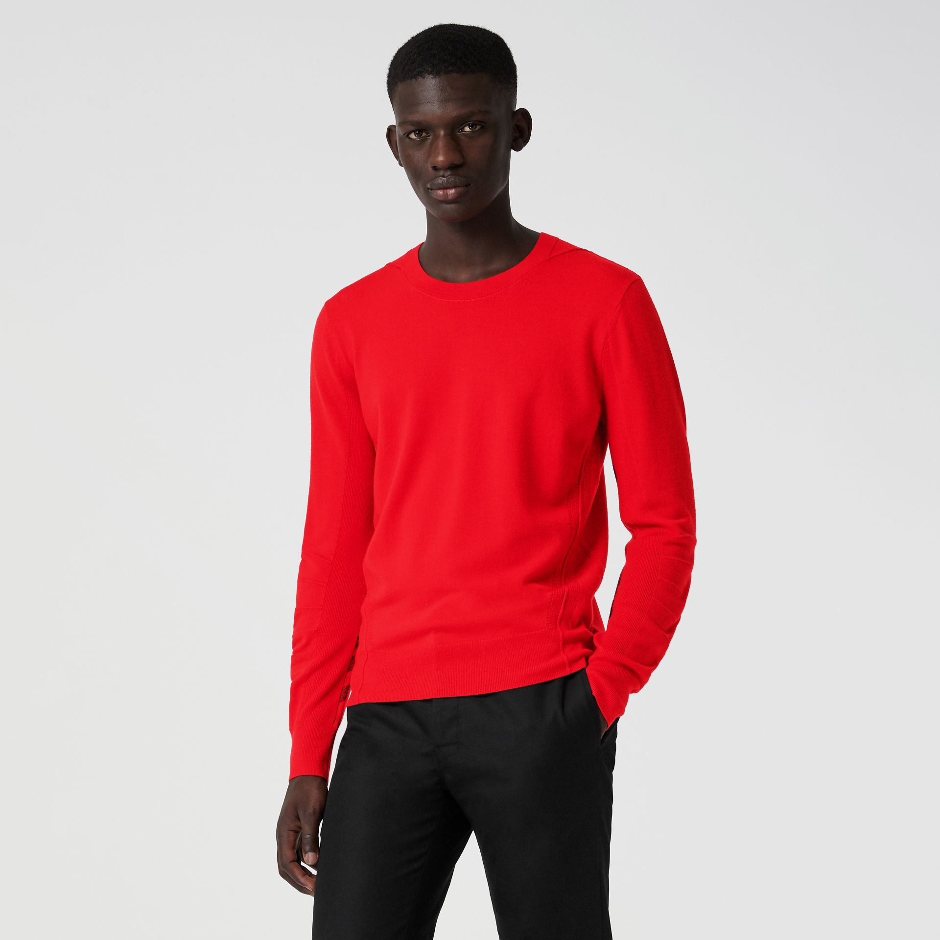 Check Detail Merino Wool Sweater in Bright Red - Men | Burberry - gallery image 0