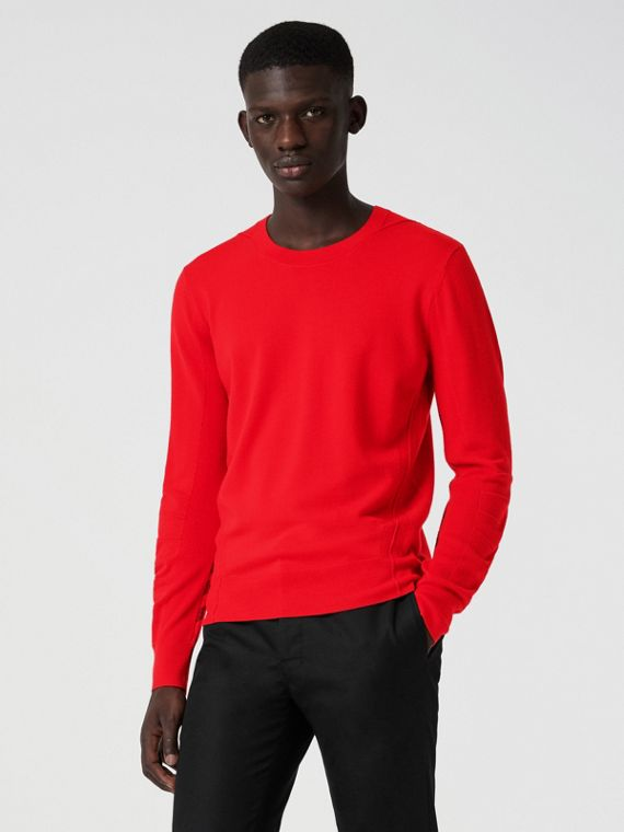 Check Detail Merino Wool Sweater in Dark Cobalt